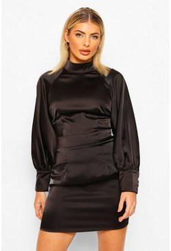 Black Satin High Neck Balloon Sleeve Mini Dress