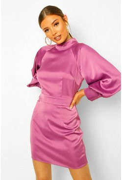 Satin High Neck Balloon Sleeve Mini Dress, Purple violet