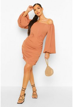 Camel beige Corset Detail Off The Shoulder Ruched Mini Dress