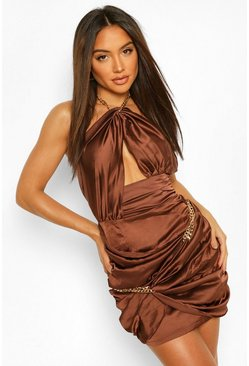 Chocolate brown Chain Wrap Halter Neck Mini Dress