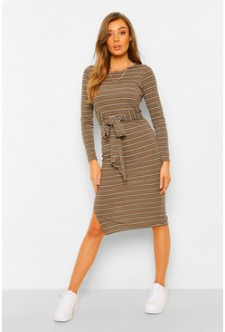 Striped RIb Tie Waist Midi Dress, Khaki caqui