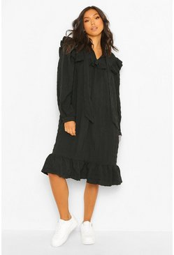 Black Ruffle Detail Pussybow Midi Smock Dress