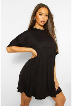 Black Batwing Sleeve Smock Dress