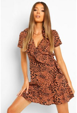 Tan brown Leopard Print Frill Detail Skater Dress