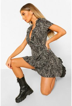 Black Marble Print Frill Detail Skater Dress