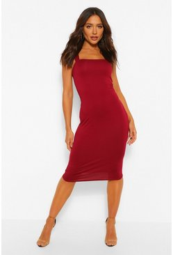 Berry Square Neck Bodycon Midi Dress