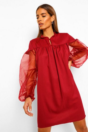 Berry red Organza Sleeve High Neck Smock Dress