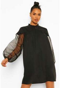 Black Organza Sleeve High Neck Smock Dress