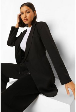Black Woven Power Shoulder Button Longline Blazer