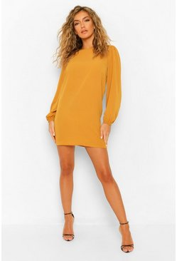 Mustard yellow Woven Long Puff Sleeve Shift Dress