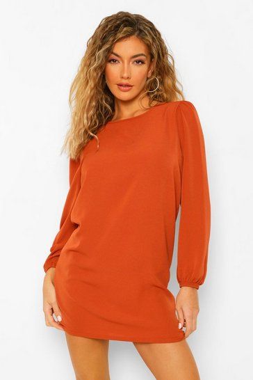 Rust orange Woven Long Puff Sleeve Shift Dress