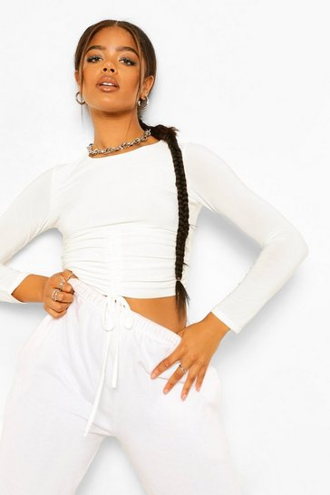 White Ruched Front Long Sleeve Crop Top