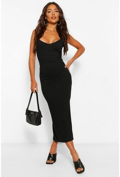 Black Strappy Bodycon Midaxi dress