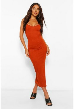 Rust orange Strappy Bodycon Midaxi dress