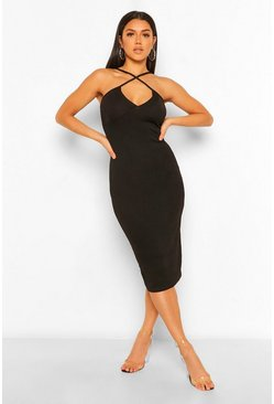 Black Cross Front Midi Dress