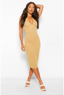Camel beige Plinge Sleeveless Midi Dress
