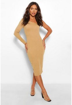 Camel beige One Sleeve Midi Dress