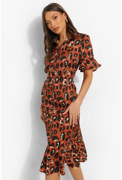 Rust orange Animal Print Frill Hem Midi Shift Dress