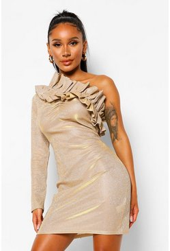 Gold metallic Glitter Asymetric Ruffle Mini Dress