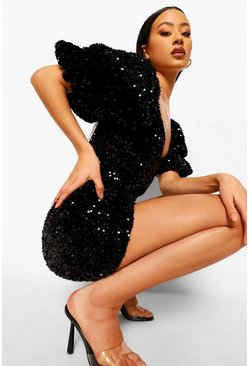 Black Sequin Puff Sleeve Plunge Mini Dress
