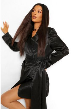 Black Hammered Satin Draped Belted Blazer Dress