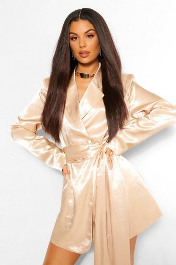 Champagne beige Hammered Satin Draped Belted Blazer Dress