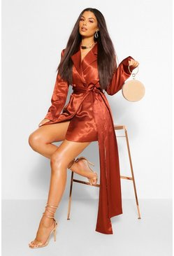 Copper orange Hammered Satin Draped Belted Blazer Dress