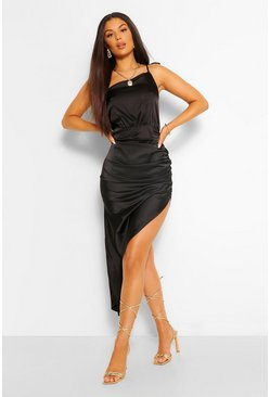 Black Satin One Shoulder Asymmetric Ruched Dress
