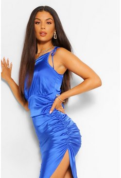 Cobalt blue Satin One Shoulder Asymmetric Ruched Dress