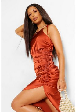 Copper orange Satin One Shoulder Asymmetric Ruched Dress