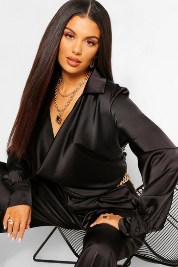 Black Satin Draped Cowl Neck Blouse