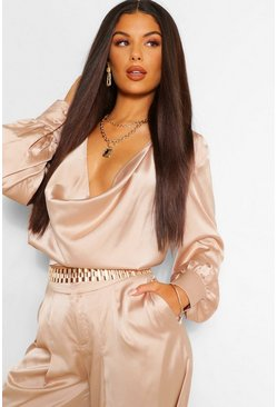 Champagne beige Satin Draped Cowl Neck Blouse