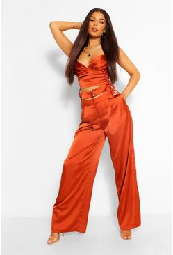 Copper orange Satin Double Waistband Wide Leg Trousers