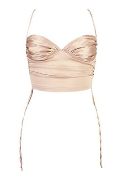 Champagne Satin Ruched Cami Top