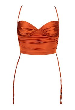 Copper Satin Ruched Cami Top
