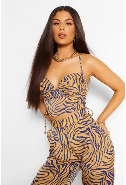 Tan brown Tiger Print Ruched Camisole
