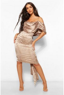 Taupe beige Satin Jacquard Off The Shoulder Midi Dress