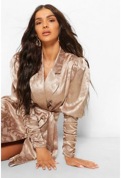 Taupe beige Satin Jacquard Ruched Sleeve Blazer Dress
