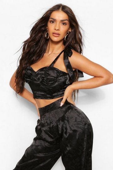 Black Satin Jacquard Ruched Cupped Corset Top