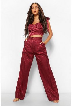Burgundy red Satin Jacquard High Waisted Wide Leg Trousers