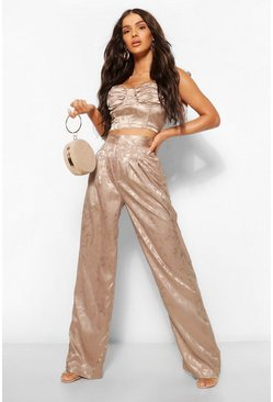 Taupe beige Satin Jacquard High Waisted Wide Leg Trousers