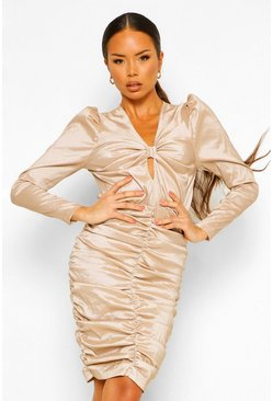 Champagne beige Satin Ruched Bow Detail Mini Dress