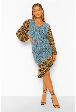 Blue Contrast Print Frill Sleeve Midi Dress