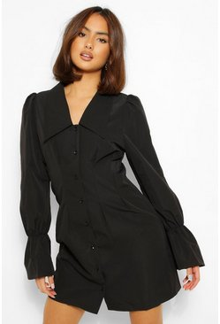 Black Puff Sleeve Oversized Collar Shirt Dress