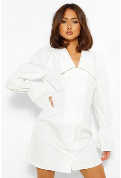 White Puff Sleeve Oversized Collar Shirt Dress