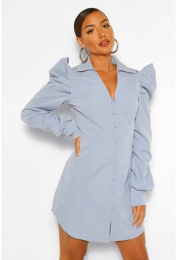 Blue Cold Shoulder Ruched Sleeve Shirt Dress