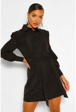 Black Shoulder Detail Belted Utility Shift Dress