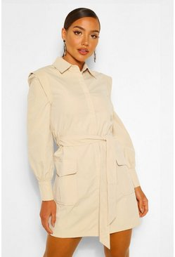 Stone beige Shoulder Detail Belted Utility Shift Dress