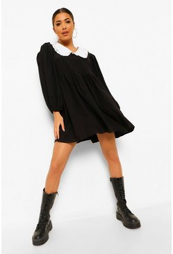 Black Oversized Frill Collar Smock Dress