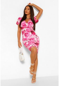 Hot pink Floral Rouche Side Puff Sleeve Mini Dress